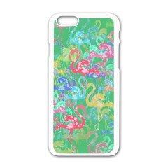 Flamingo Pattern Apple Iphone 6/6s White Enamel Case by Valentinaart