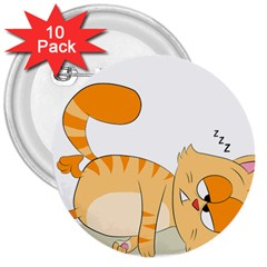 Even Cat Hates Monday 3  Buttons (10 Pack)  by Catifornia