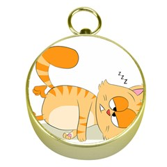 Even Cat Hates Monday Gold Compasses by Catifornia