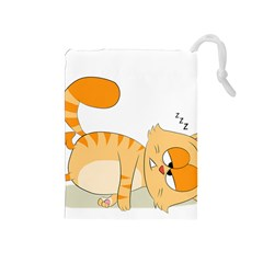Even Cat Hates Monday Drawstring Pouches (medium)  by Catifornia
