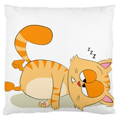 Even Cat Hates Monday Large Flano Cushion Case (two Sides) by Catifornia