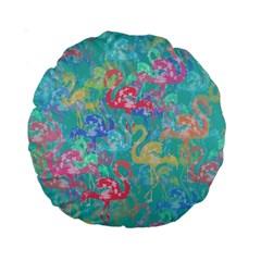 Flamingo Pattern Standard 15  Premium Round Cushions by Valentinaart