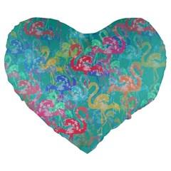 Flamingo Pattern Large 19  Premium Flano Heart Shape Cushions by Valentinaart