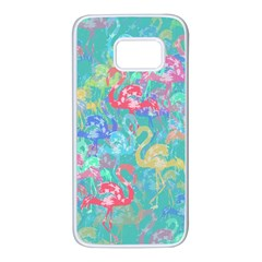 Flamingo pattern Samsung Galaxy S7 White Seamless Case by Valentinaart