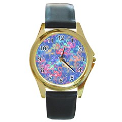 Flamingo Pattern Round Gold Metal Watch by Valentinaart