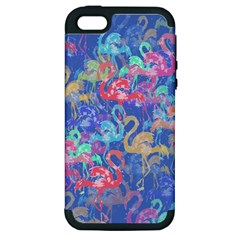 Flamingo Pattern Apple Iphone 5 Hardshell Case (pc+silicone) by Valentinaart