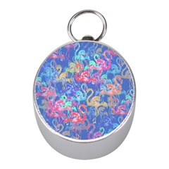 Flamingo Pattern Mini Silver Compasses by Valentinaart