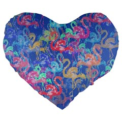 Flamingo Pattern Large 19  Premium Flano Heart Shape Cushions by Valentinaart
