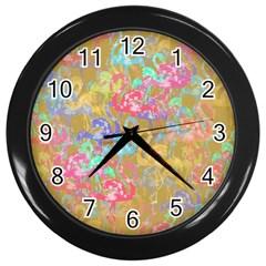 Flamingo Pattern Wall Clocks (black) by Valentinaart