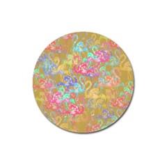 Flamingo Pattern Magnet 3  (round) by Valentinaart