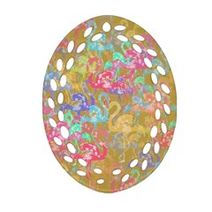 Flamingo Pattern Oval Filigree Ornament (two Sides) by Valentinaart