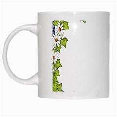 Birthday Card Flowers Daisies Ivy White Mugs by Nexatart