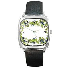 Birthday Card Flowers Daisies Ivy Square Metal Watch