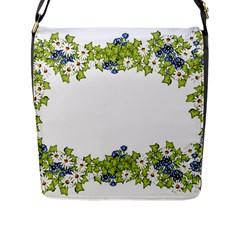 Birthday Card Flowers Daisies Ivy Flap Messenger Bag (l)  by Nexatart