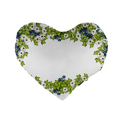 Birthday Card Flowers Daisies Ivy Standard 16  Premium Flano Heart Shape Cushions by Nexatart