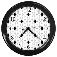 Black White Hexagon Dots Wall Clocks (black) by Mariart
