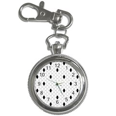 Black White Hexagon Dots Key Chain Watches by Mariart