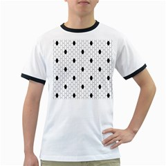 Black White Hexagon Dots Ringer T Shirts by Mariart