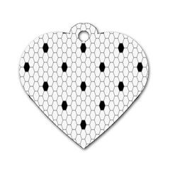 Black White Hexagon Dots Dog Tag Heart (two Sides) by Mariart