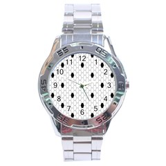 Black White Hexagon Dots Stainless Steel Analogue Watch by Mariart