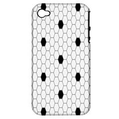 Black White Hexagon Dots Apple Iphone 4/4s Hardshell Case (pc+silicone) by Mariart