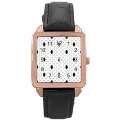 Black White Hexagon Dots Rose Gold Leather Watch  by Mariart