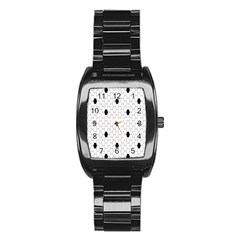 Black White Hexagon Dots Stainless Steel Barrel Watch by Mariart