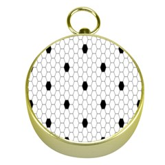 Black White Hexagon Dots Gold Compasses by Mariart