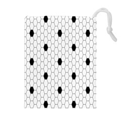 Black White Hexagon Dots Drawstring Pouches (extra Large) by Mariart