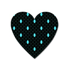 Blue Black Hexagon Dots Heart Magnet by Mariart