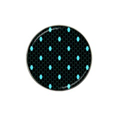 Blue Black Hexagon Dots Hat Clip Ball Marker (10 Pack) by Mariart