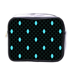 Blue Black Hexagon Dots Mini Toiletries Bags by Mariart