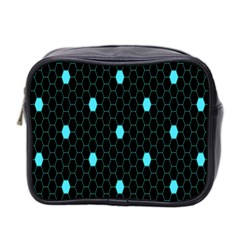 Blue Black Hexagon Dots Mini Toiletries Bag 2 Side by Mariart