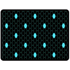 Blue Black Hexagon Dots Fleece Blanket (large)  by Mariart