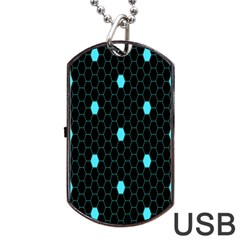 Blue Black Hexagon Dots Dog Tag Usb Flash (two Sides) by Mariart