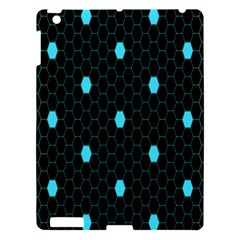Blue Black Hexagon Dots Apple Ipad 3/4 Hardshell Case by Mariart