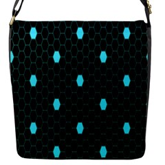 Blue Black Hexagon Dots Flap Messenger Bag (s) by Mariart