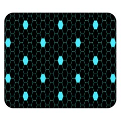 Blue Black Hexagon Dots Double Sided Flano Blanket (small)  by Mariart