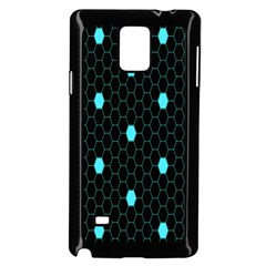 Blue Black Hexagon Dots Samsung Galaxy Note 4 Case (black) by Mariart