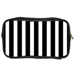 Black White Line Vertical Toiletries Bags 2 Side by Mariart