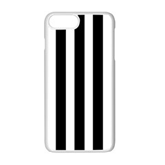 Black White Line Vertical Apple Iphone 7 Plus White Seamless Case by Mariart