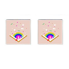 Books Rainboe Lamp Star Pink Cufflinks (square) by Mariart