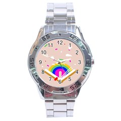 Books Rainboe Lamp Star Pink Stainless Steel Analogue Watch by Mariart