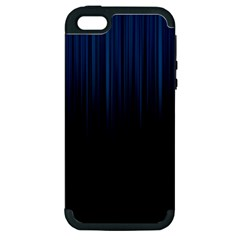 Black Blue Line Vertical Space Sky Apple Iphone 5 Hardshell Case (pc+silicone) by Mariart