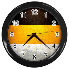 Wooden Board Yellow White Black Wall Clocks (black) by Mariart
