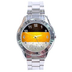Wooden Board Yellow White Black Stainless Steel Analogue Watch by Mariart