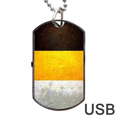 Wooden Board Yellow White Black Dog Tag Usb Flash (two Sides) by Mariart