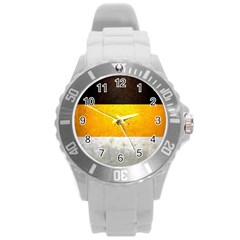 Wooden Board Yellow White Black Round Plastic Sport Watch (l) by Mariart