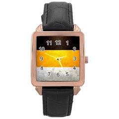 Wooden Board Yellow White Black Rose Gold Leather Watch  by Mariart
