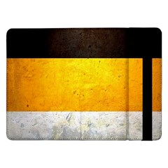 Wooden Board Yellow White Black Samsung Galaxy Tab Pro 12 2  Flip Case by Mariart